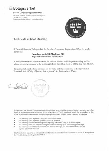 Сертификат Good standing